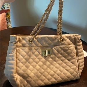 Aldo nude quilted tote bag with gold chain
